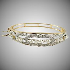 Edwardian Pearl Diamond 14k Gold Bangle Bracelet