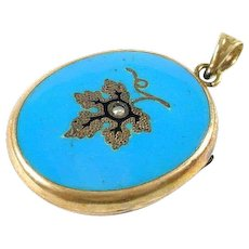 Sweet Blue Enamel Antique Gold Locket