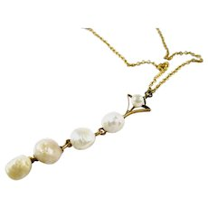 Sweet Antique Edwardian Pearl Gold Lavaliere Pendant and Chain
