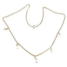 Vintage 18k Gold Cultured Pearl Drop Chain Necklace Collar