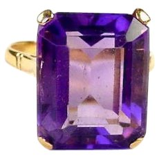 Vintage Emerald Cut Amethyst 14k Gold Cocktail Ring