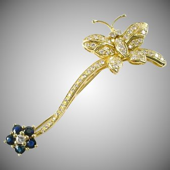 Whimsical Butterfly Flower 1.00 Ct. Diamond Sapphire 18k Gold Brooch