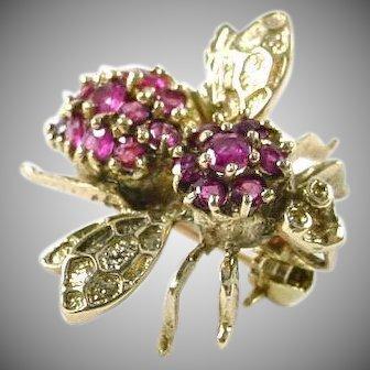 Sweet Ruby 14k Bee Pin