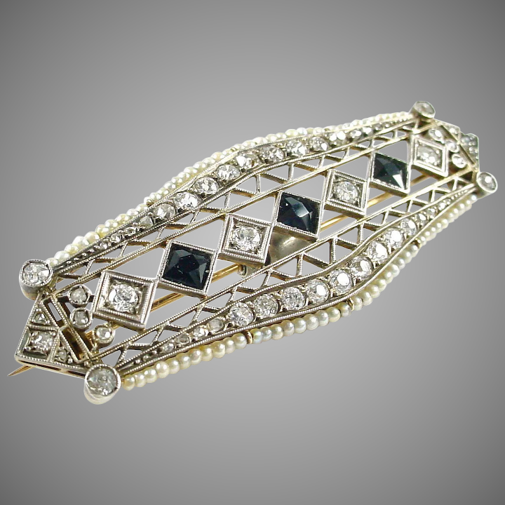 1fad632ec Edwardian Art Deco Platinum Topped Gold Diamond Pearl Brooch--2.00 :  BrSquared Antique Jewelry | Ruby Lane