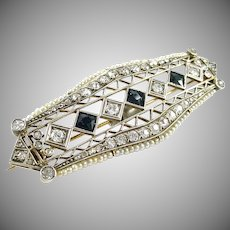 Edwardian Art Deco Platinum Topped Gold Diamond Pearl Brooch--2.00 cts. OEC Diamonds