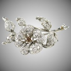 Stunning Platinum Diamond Flower Pin Brooch