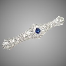 Art Deco Platinum 2.50 Ct Diamond Bar Pin Brooch