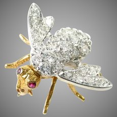 Stunning Diamond Ruby 18k Gold Bee Pin Brooch--1.00 Carats