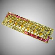 Ruby Diamond 18k Yellow Gold Rectangular Brooch