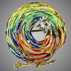 Whimsical 18k Gold Diamond Ruby Enamel Rooster Pin