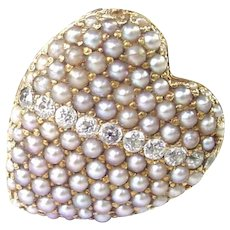 Rare and Charming Heart Locket Ring--Sloan & Co. c 1910