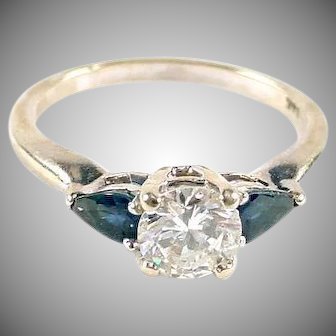 Diamond Sapphire .50 ct  14k White Gold Engagement Ring