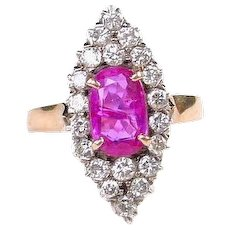 Victorian Pink Sapphire Diamond Silver-Topped 14k Navette Ring