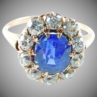 Very Fine Sapphire Diamond Antique Princess Halo Gold Ring with Appraisal