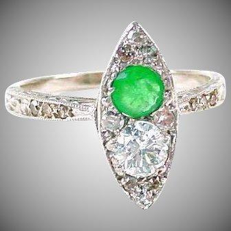 Art Deco Emerald Diamond Navette 14k Gold Ring