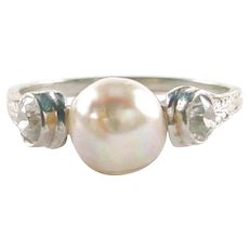 Art Deco Diamond Pearl 18k Gold Engraved Gold Ring - Red Tag Sale Item