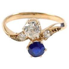 Antique Diamond and Sapphire Toi et Moi Ring