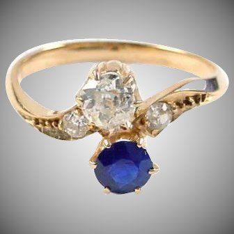 Antique Diamond and Sapphire Toi et Moi Ring