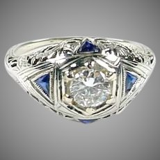 Art Deco Diamnd Sapphire 20k White Gold Filigree Dinner Ring