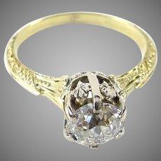 Stunning Edwardian OEC Diamond Engraved 14k Gold Ring