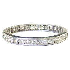 Classic Vintage Platinum .65 ct. Diamond Eternity Band Guard Ring