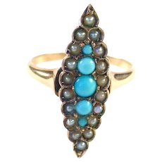 Antique Victorian Turquoise Pearl Navette Gold Ring