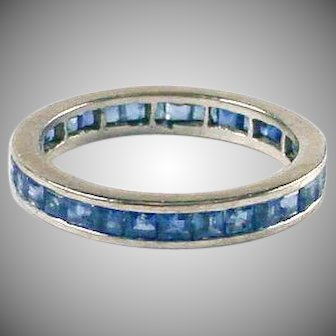 Vintage Sapphire 14k White Gold Eternity Band Ring