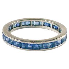 Vintage Square Cut Sapphire 14k White Gold Eternity Band Ring
