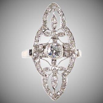 Antique Platinum Diamond Dinner Ring