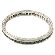 Art Deco Platinum Black Diamond Narrow Eternity Band Guard Ring