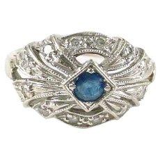 Art Deco Sapphire Diamond Pinky 14k White Gold Ring--Small