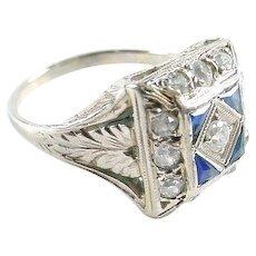 Art Deco Diamond Sapphire 14k Gold Ring--Petite - Red Tag Sale Item