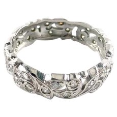 Platinum Diamond Wide Floral Eternity Band Ring