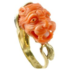 Vintage Coral Diamond 14k Gold Tiger Dragon Ring