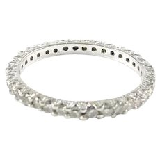 Diamond 14k White Gold Eternity Band Ring--.90 Ct.