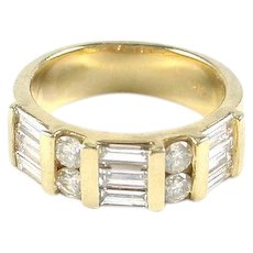 Baguette & Round Diamond Wide Wedding Band Ring--1.30 Ct.