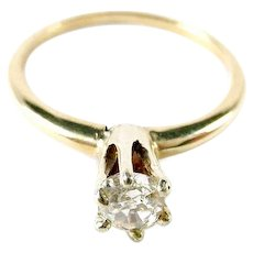 Antique Old Euro Cut Diamond Solitaire 14k Gold Engagement Ring