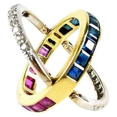 "Vintage ""Flip"" Eternity Band Ring--Sapphire Ruby Diamond 18k Gold"