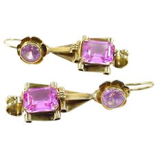 Antique Synthetic Pink Sapphire Gold Day to Night Pendant Earrings