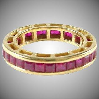Ruby 18k Gold Eternity Band Gaurd Ring