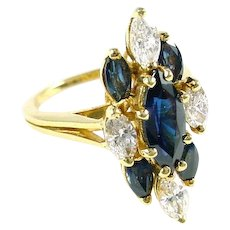 Diamond Sapphire 18k Gold Marquise Harlequin Motif Cocktail Ring