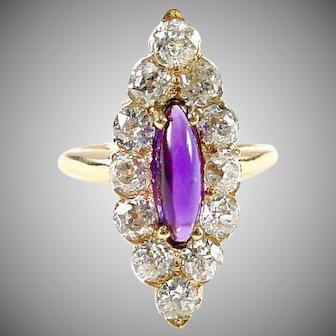 Antique Navette Ring--1.40 cts. Old European Cut Diamonds Amethyst 14k Gold