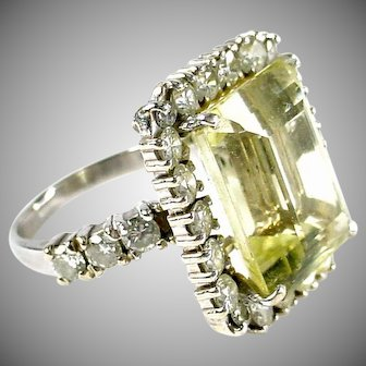 Stunning Diamond Heliodor 14k Gold Cocktail Ring--1.62 cts.