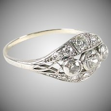 Art Deco Diamond 14k White Gold Engagement Ring