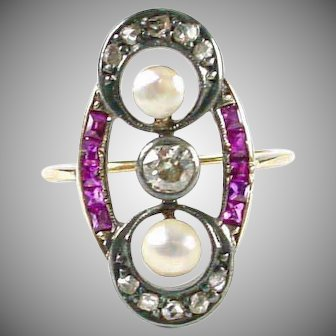 Art Deco Ruby Diamond Silver Gold Ring