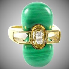 Vintage Modernist Malachite Diamond 14k Gold Ring