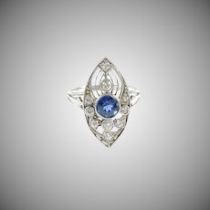 Art Deco Blue Sapphire Diamond Platinum Ring