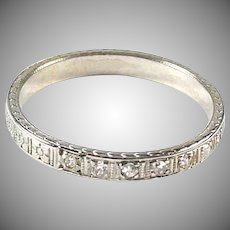 Art Deco Diamond 18K White Gold Wedding Band Ring