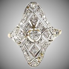 Edwardian Belle Epoque Platinum Gold Diamond Dinner Ring
