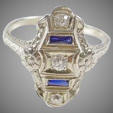 Art Deco Diamond Synthetic Sapphire  18k White Gold Dinner Ring